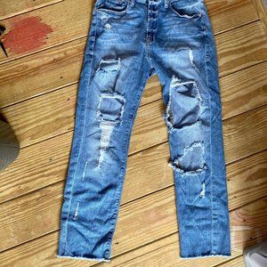 Good American Distressed Light Wash Jeans